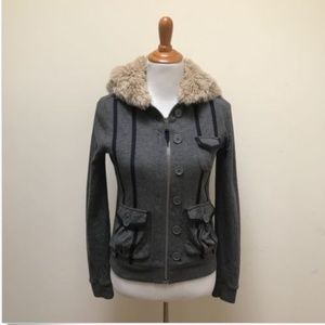 Marc Jacobs Gray Faux Fur Lined Hooded Zip Jacket